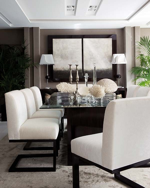 white interior dining